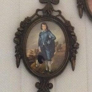 Vintage Wall Art - Boy and girl vintage mini painting in metal frame